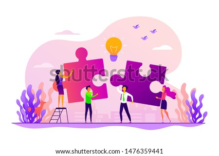Finding solution, problem solving. Teamwork and partnership. Working team collaboration, enterprise cooperation, colleagues mutual assistance concept. Vector isolated concept creative illustration Royalty-Free Stock Photo #1476359441
