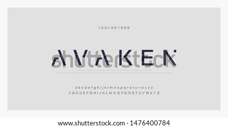 Abstract minimal modern alphabet fonts. Typography technology electronic digital music future creative font. vector illustraion Royalty-Free Stock Photo #1476400784