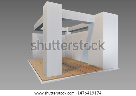 Plain white exhibition stand 3d illustration used for mock-ups and branding #1476419174