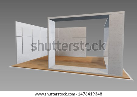 Plain white exhibition stand 3d illustration used for mock-ups and branding #1476419348
