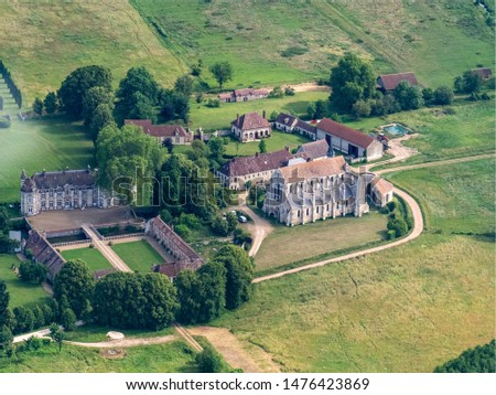 aerial view of the abbey church of Breuil-Benoit in the department of Eure in France #1476423869