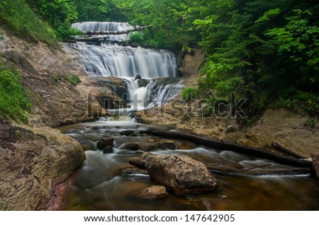 Sable Falls, one of the many waterfalls in the Pictured Rocks National Lakeshore.