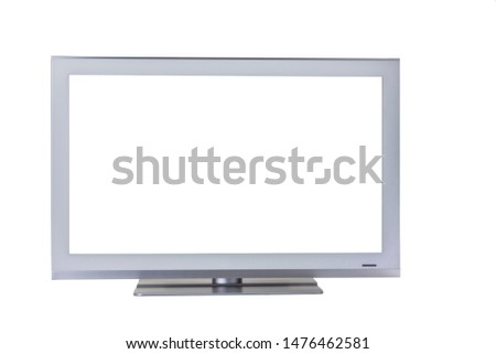 Silver TV with a screen isolated on a white background. Close-up. #1476462581