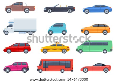 Flat cars set. Taxi and minivan, cabriolet and pickup. Bus and suv, truck. Urban, city cars and vehicles transport vector flat icons. Cabriolet and truck, car and bus, automobile pickup illustration Royalty-Free Stock Photo #1476473300