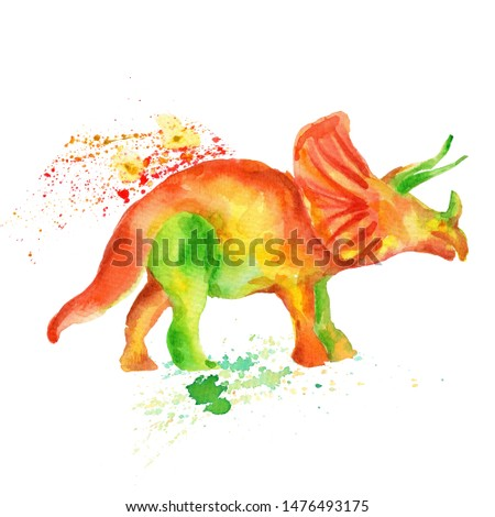 Watercolor hand draw illustration dinosaur triceratops; with white isolated background #1476493175