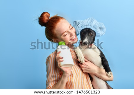 ginger girl enjoying washing the dog with foam and water.close up portrait, isolated blue background, studio shot, happiness, lifestyle, spare time #1476501320