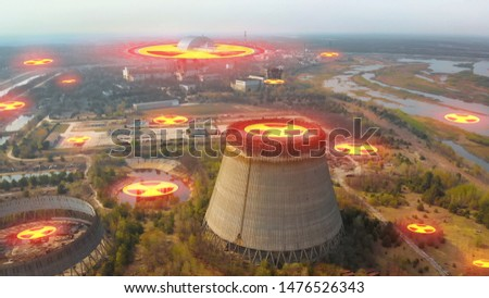 Chernobyl nuclear power plant. Cooling tower overlooking the nuclear power plant in Chernobyl. View of the destroyed nuclear power plant. Chernobyl nuclear power plant, Ukrine. Aerial view. #1476526343