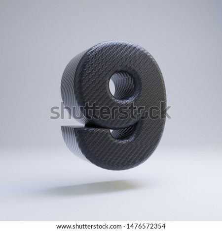 Carbon fiber number 9 isolated on white. 3D rendered black glossy carbon font for poster, banner, advertisement, decoration. #1476572354