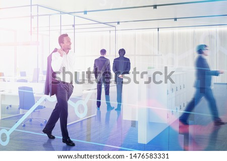 Diverse business people working together in modern office with double exposure of graphs. Concept of teamwork and corporate lifestyle. Toned image double exposure blurred #1476583331