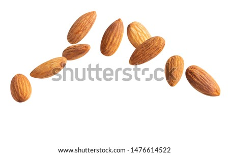 raw fly Almond  healthiest  with copyspace almonds nut isolated healthy food on white background.of the best brain foods. #1476614522