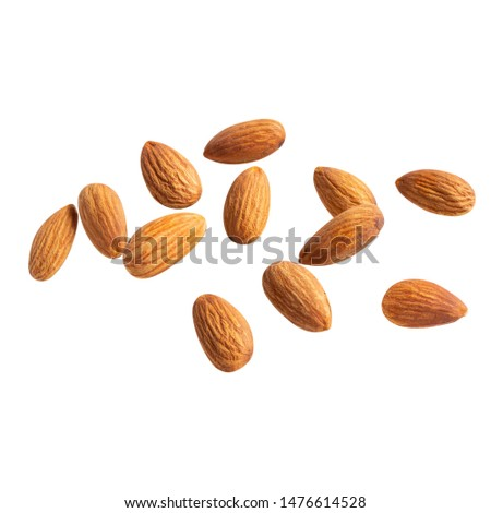 raw fly Almond  healthiest  with copyspace almonds nut isolated healthy food on white background.of the best brain foods. #1476614528