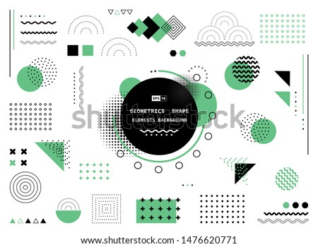 Abstract green and black geometric shape of modern elements cover design. Use for poster, artwork, template design, ad, print. illustration vector eps10 Royalty-Free Stock Photo #1476620771