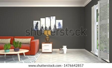 Interior of the living room. 3D illustration. #1476642857