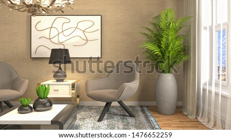 interior with chair. 3d illustration. #1476652259