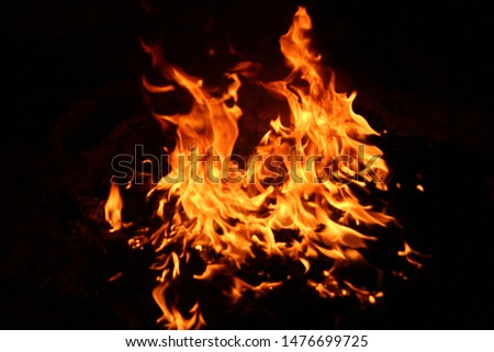 The flames of flaming flames swept through various shapes like hot, energy on a black background. #1476699725