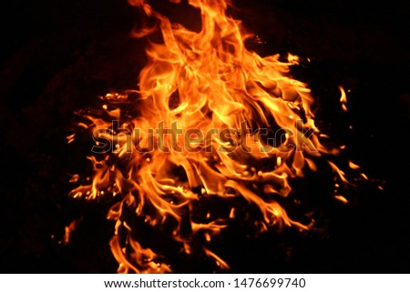 The flames of flaming flames swept through various shapes like hot, energy on a black background. #1476699740