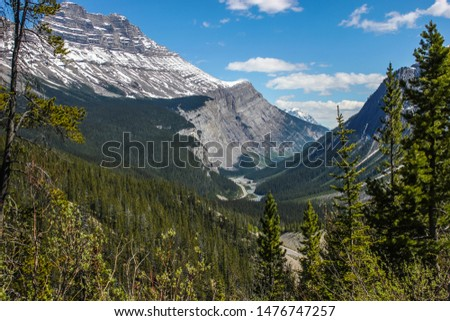 Panorama of the Icefields parkway in the spring, Alberta, Canada. Aslo known as the Banff-Windermere Parkway. #1476747257