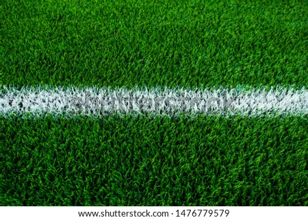 White stripe on the green soccer field  #1476779579