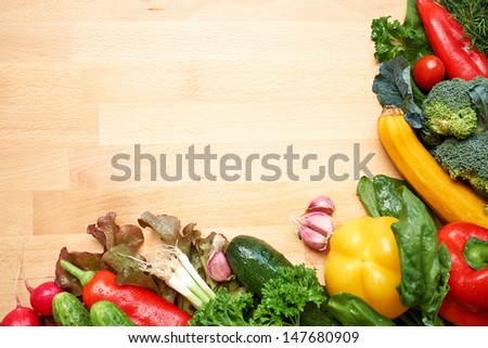 healthy organic vegetables on a wood background  #147680909