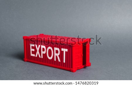 Red cargo shipping container with the word Export. The concept of foreign trade and transportation of goods, delivery, shipping. Industry and production, trade balance and distribution. Globalization #1476820319