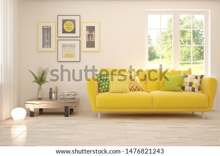 Stylish room in white color with sofa and summer landscape in window. Scandinavian interior design. 3D illustration #1476821243