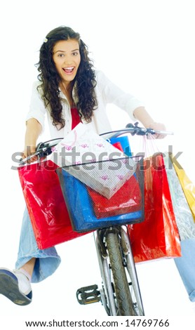 happy young lady on bike returning from shopping, isolated on white background #14769766