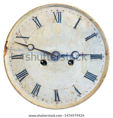 Ancient weathered clock face with faded numbers isolated on a white background #1476979424