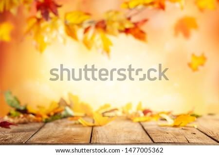 Wooden table and blurred Autumn background. Autumn concept with red-yellow leaves background. #1477005362