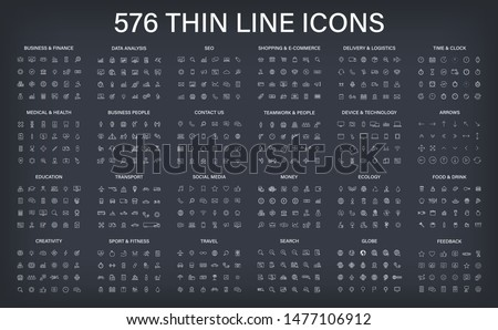 Big vector collection of 576 thin line Web icon. Business, finance, seo, shopping, logistics, medical, health, people, teamwork, contact us, arrows, technology, social media, education, creativity. #1477106912