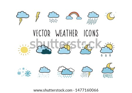 Set of weather icons. Colored illustrations by hand in the style of doodle. Weather symbols #1477160066