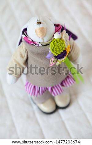 Children's handmade toy. White background. #1477203674