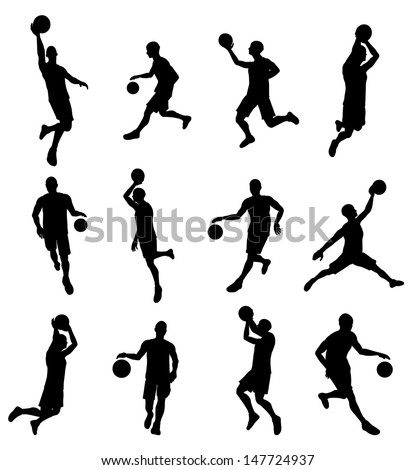 A set of highly detailed high quality Basketball player silhouettes
