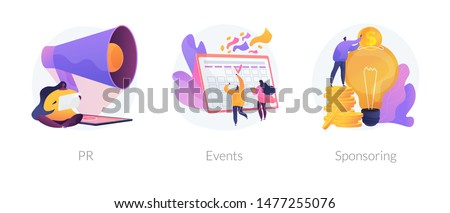 Marketing campaign, workflow planning and time management. Business funding, money investing cliparts set. PR, events, sponsoring metaphors. Vector isolated concept metaphor illustrations Royalty-Free Stock Photo #1477255076