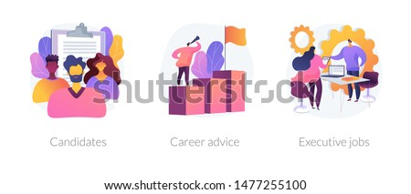 Recruitment and headhunting agency, employment service icons set. Employees hiring. Candidates, career advice, executive jobs metaphors. Vector isolated concept metaphor illustrations Royalty-Free Stock Photo #1477255100