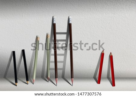 Stairs with pencil for effort and challenge in business to be achievement and successful concept.find opportunity and career part. #1477307576
