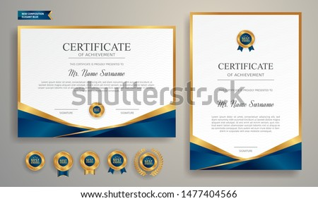 Blue and gold certificate of achievement border template with luxury badge and modern line pattern. For award, business, and education needs #1477404566
