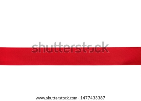 Beautiful flat red silk gift ribbon isolated on white background #1477433387