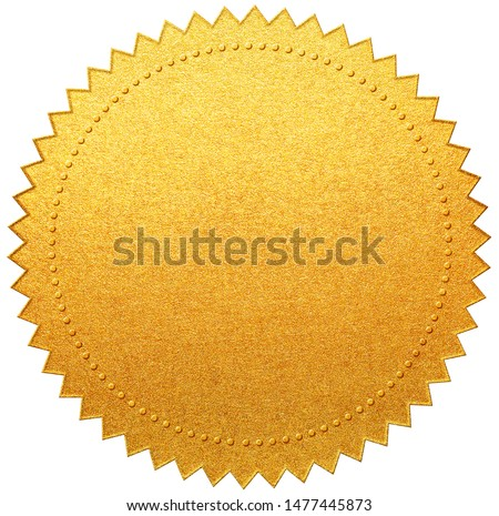 Gold paper diploma or certificate seal isolated Royalty-Free Stock Photo #1477445873