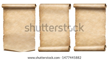Old paper or parchment scrolls collection isolated on white #1477445882
