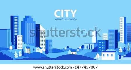 City skyline Vector illustration. Urban landscape. Daytime cityscape Royalty-Free Stock Photo #1477457807