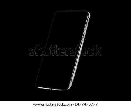 Black mock up smartphone on black background. The shiny metal frame of the smartphone. Vector illustration #1477475777