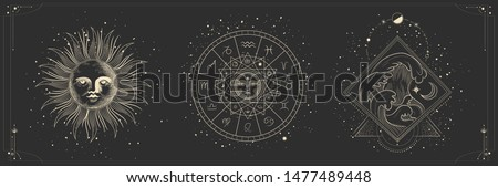 Vector illustration set of moon phases. Different stages of moonlight activity in vintage engraving style. Zodiac Signs #1477489448
