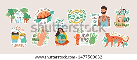 Collection of ecology stickers with slogans - zero waste, recycle, eco friendly tools, environment protection. Bundle of decorative design elements. Flat cartoon colorful vector illustration. #1477500032