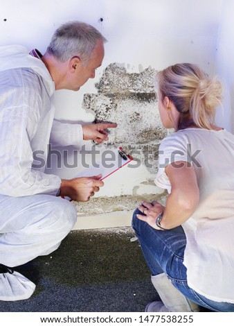 a pest control contractor or exterminator with a blonde female customer at a mold destroyed wall and explain her the problem and the plan whats to do against mold pests and bugs for hygienic #1477538255