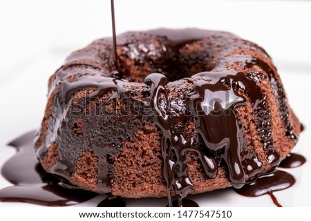 """""""Mohr im hemd"""": Steamed chocolate cake topped with chocolate sauce #1477547510"""