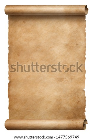 Old brown parchment scroll isolated on white #1477569749