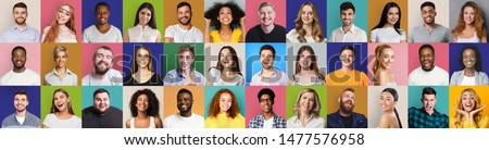 Mosaic of happy and successful people on bright backgrounds, panorama Royalty-Free Stock Photo #1477576958