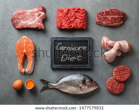 Carnivore diet concept. Raw ingredients for zero carb diet - meat, poultry, fish, seafood, eggs, beef bones for bone broth and words Carnivore Diet on gray stone background. Top view or flat lay. #1477579832
