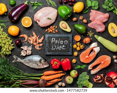 Paleo diet concept. Raw ingredients for Paleo diet - fish, seafood, poultry meat, vegetables and fruits and words Paleo Diet on dark background. Top view or flat lay. #1477582739