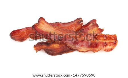 cooked slices of bacon isolated on white background #1477590590